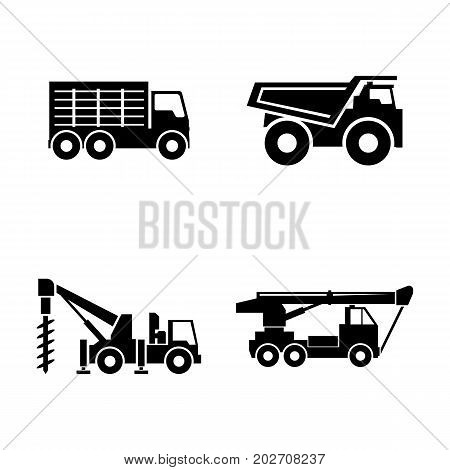 Construction vehicles. Simple Related Vector Icons Set for Video, Mobile Apps, Web Sites, Print Projects and Your Design. Black Flat Illustration on White Background.