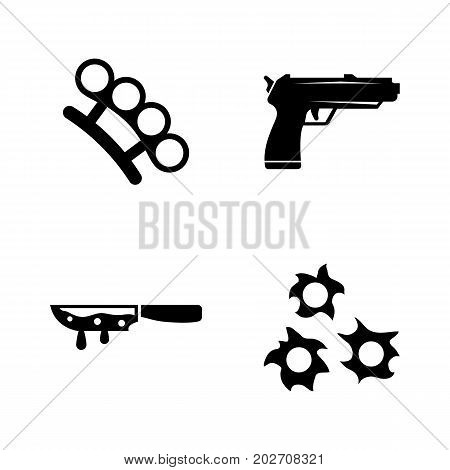 Crime. Simple Related Vector Icons Set for Video, Mobile Apps, Web Sites, Print Projects and Your Design. Black Flat Illustration on White Background.