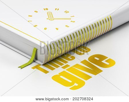Time concept: closed book with Gold Clock icon and text Time To Give on floor, white background, 3D rendering