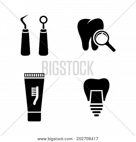 Dental. Simple Related Vector Icons Set for Video, Mobile Apps, Web Sites, Print Projects and Your Design. Black Flat Illustration on White Background.