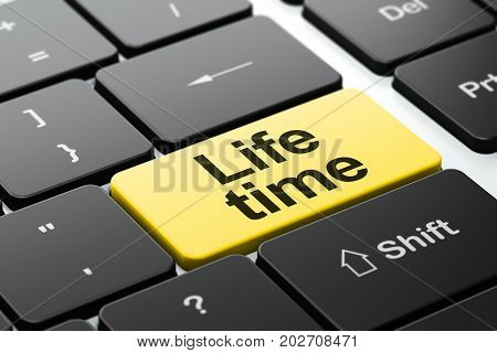 Timeline concept: computer keyboard with word Life Time, selected focus on enter button background, 3D rendering