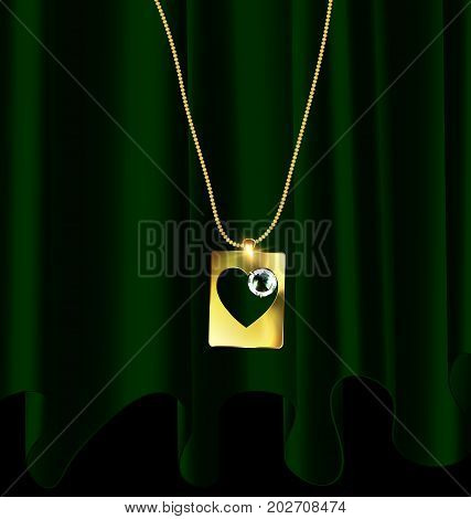 dark background, green drape and golden chain with jewelry heart