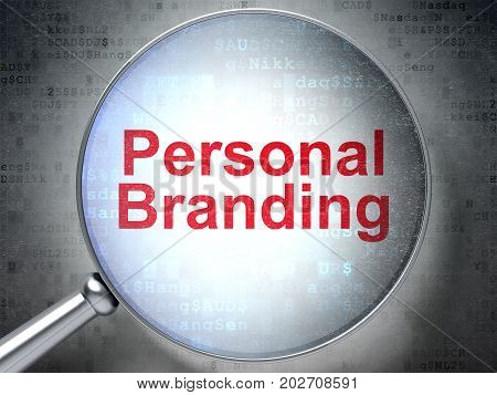 Marketing concept: magnifying optical glass with words Personal Branding on digital background, 3D rendering