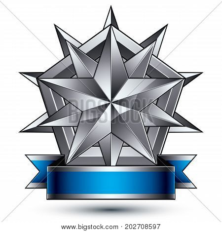 Vector classic emblem isolated on white background. Aristocratic badge with silver star placed on a shield. Blue and gray ribbon clear EPS 8.