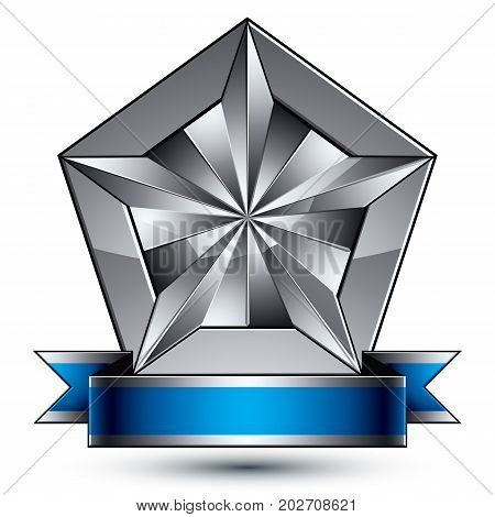 Heraldic 3d glossy blue and gray icon - can be used in web and graphic design facet silver star placed over shield magnificent element with elegant ribbon clear EPS 8 vector.