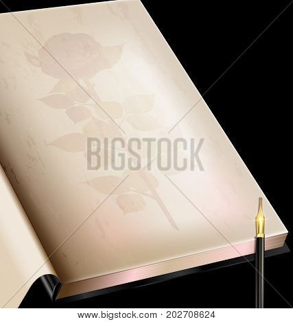 dark background, retro stylized sheet of paper old book with image of rose and vintage-fashioned golden writing pen