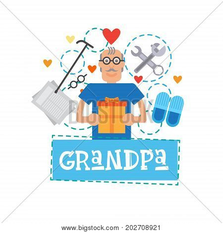 Grandmother Holding Present Box Happy Grandparents Day Greeting Card Banner Vector Illustration