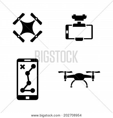 Drone. Simple Related Vector Icons Set for Video, Mobile Apps, Web Sites, Print Projects and Your Design. Black Flat Illustration on White Background.