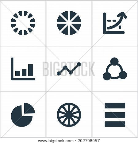 Elements Progress, Line Bar, Pattern And Other Synonyms Cycle, Marketing And Relation.  Vector Illustration Set Of Simple Chart Icons.