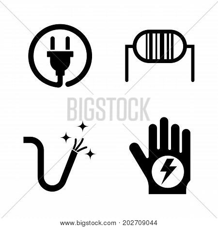 Electricity. Simple Related Vector Icons Set for Video, Mobile Apps, Web Sites, Print Projects and Your Design. Black Flat Illustration on White Background.