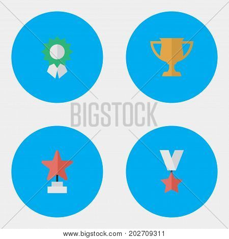 Elements Star, Trophy, Award And Other Synonyms Award, Reward And Medal.  Vector Illustration Set Of Simple Reward Icons.