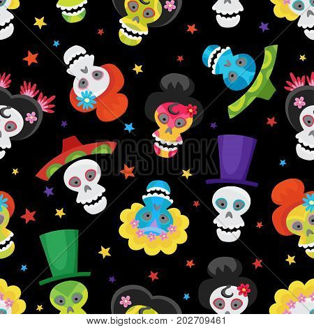 Seamless pattern with colorful skulls and stars for day of the dead or halloween. Sugar skuuls for mexican day of the dead. Cute skulls and flowers in a cartoon style.