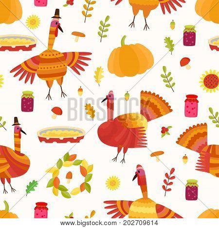Vector Thanksgiving seamless pattern. Repeating autumn background. Illustration with turkey, acorns, jams, mushrooms, pumpkin, apple pie, oak leafs.