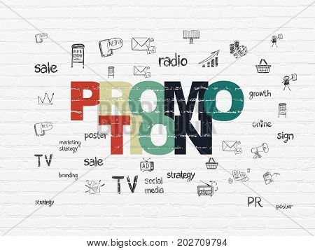 Advertising concept: Painted multicolor text Promotion on White Brick wall background with  Hand Drawn Marketing Icons
