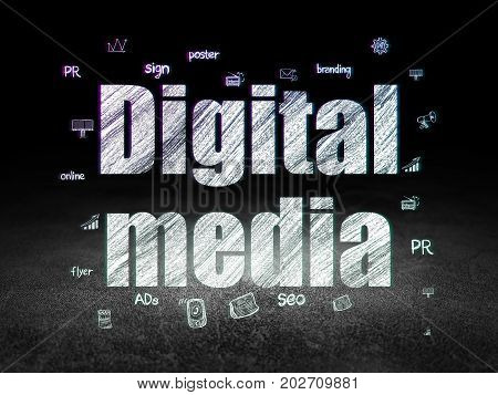 Advertising concept: Glowing text Digital Media,  Hand Drawn Marketing Icons in grunge dark room with Dirty Floor, black background
