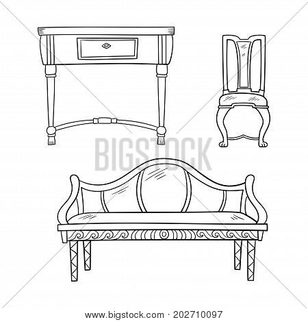 Furniture set: antique bureau, tables, chair isolated on a white background. Vector drawing lines.