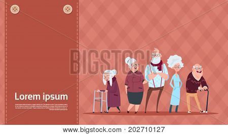 Group Of Senior People With Stick Modern Grandfather And Grandmother Full Length Flat Vector Illustration