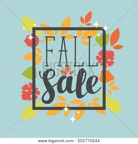 Vector banner with the words Fall sale. Can be used for leaflets banners or posters. Vector illustration with colorful autumn leaves on the blue background