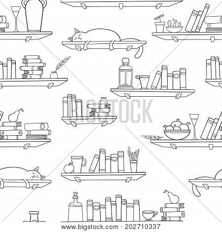 Books, cat and other things on the shelves. Vector seamless pattern. Graphic objects for decorations, background, textures or interior wallpaper.