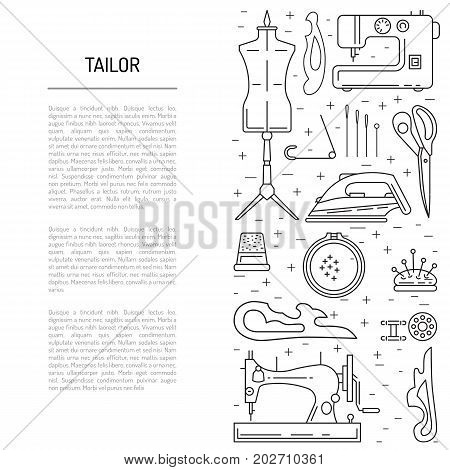 The article on sewing and repair of clothing with images of equipment for sewing in a linear fashion. Template on the theme of sewing the tailor shop