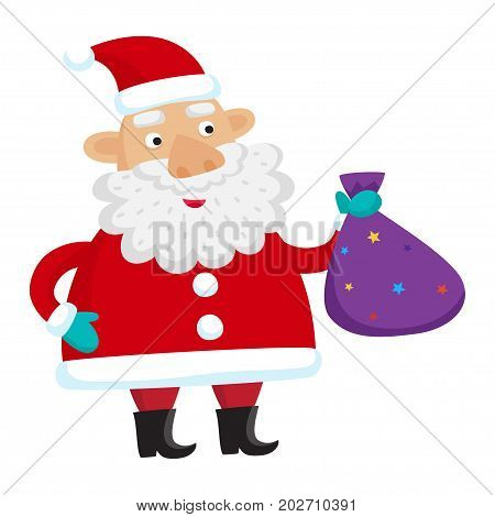 Santa Claus isolated on white background. Vector illustration for christmas card.