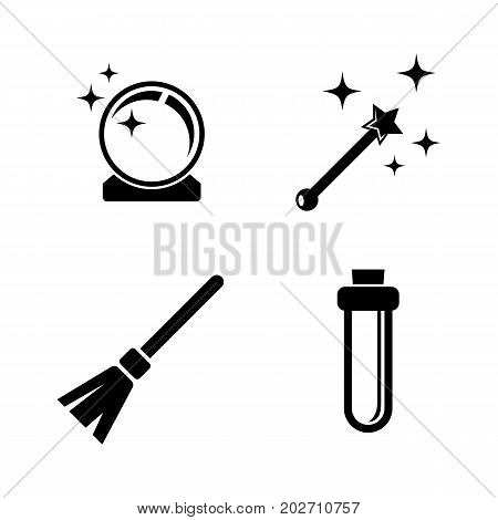 Magic. Simple Related Vector Icons Set for Video, Mobile Apps, Web Sites, Print Projects and Your Design. Black Flat Illustration on White Background.