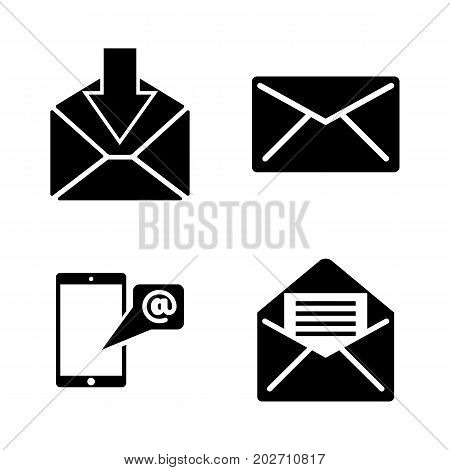 Mail. Simple Related Vector Icons Set for Video, Mobile Apps, Web Sites, Print Projects and Your Design. Black Flat Illustration on White Background.