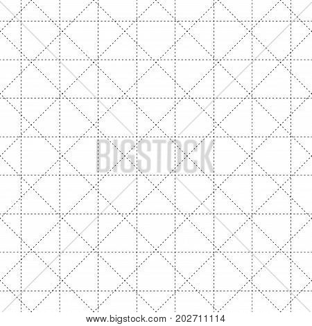 Black Dash Square and Diamond Seamless on White Background. Vector Illustration.
