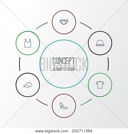 Clothes Outline Icons Set. Collection Of Hat, Shoe, Fedora And Other Elements