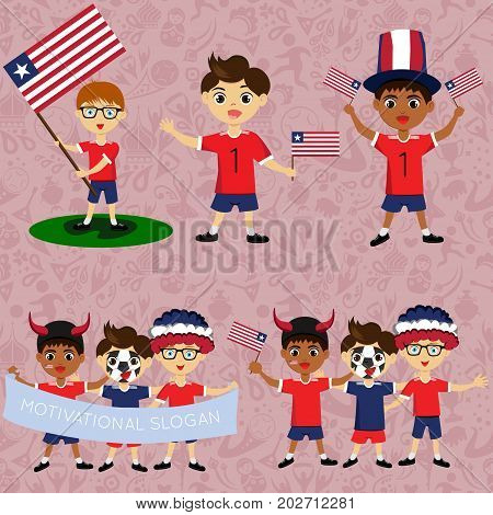 Set of boys with national flags of Liberia. Blanks for the day of the flag independence nation day and other public holidays. The guys in sports form with the attributes of the football team