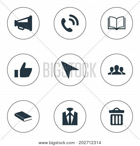Elements Rubbish Can, Open Book, Hotline And Other Synonyms Literature, Loudspeaker And Megaphone.  Vector Illustration Set Of Simple Conference Icons.