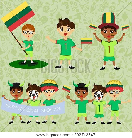 Set of boys with national flags of Lithuania. Blanks for the day of the flag independence nation day and other public holidays. The guys in sports form with the attributes of the football team