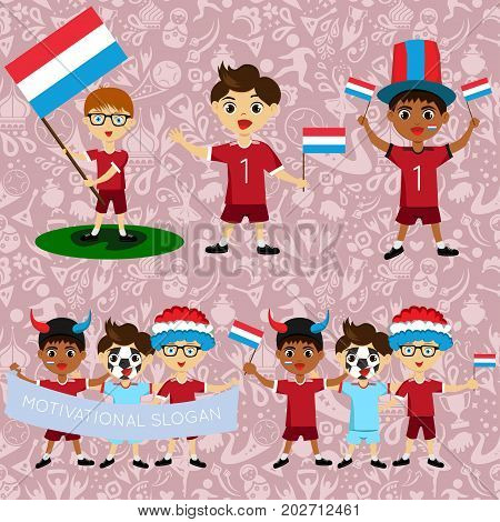 Set of boys with national flags of Luxembourg. Blanks for the day of the flag independence nation day and other public holidays. The guys in sports form with the attributes of the football team
