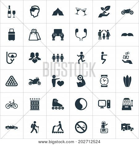 Elements Ballance, Wristwatch, Baggage And Other Synonyms Sport, Helmet And Surfing.  Vector Illustration Set Of Simple Health Icons.