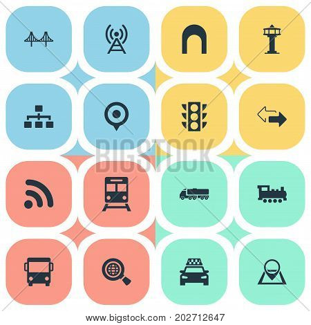 Elements Map Pin, Air Traffic Safety, City Bus And Other Synonyms Control, Cab And Wifi.  Vector Illustration Set Of Simple City Icons.