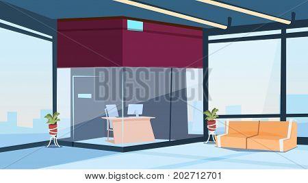 Modern Lobby Office Reception Hall Building Waiting Room Interior Flat Design Vector Illustration
