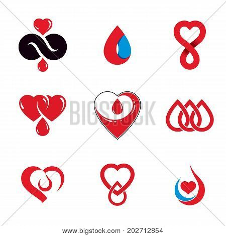 Set of vector symbols created on blood donation theme blood transfusion and circulation metaphor. Medical care idea logotypes for use in medical care advertisement.