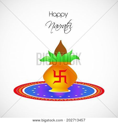 illustration of kalash in hinduism sign swastik with Happy Navratri text on the occasion of hindu festival Navratri