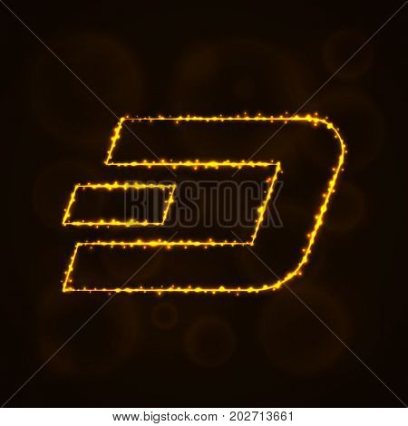 Dash coin vector icon. Dash coin symbol for your web site design, internet, business. Dash coin illustration sign, lights silhouette on dark background. Dash coin glowing lines and points.