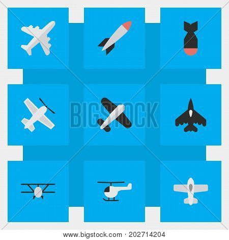 Elements Plane, Rocket, Aviation And Other Synonyms Aircraft, Plane And Bomb.  Vector Illustration Set Of Simple Aircraft Icons.