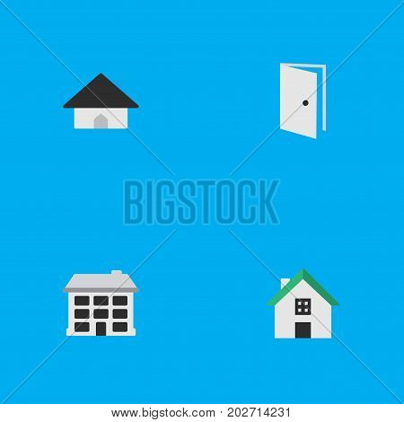 Elements Home, Entry, Structure And Other Synonyms Home, Open And House.  Vector Illustration Set Of Simple Property Icons.