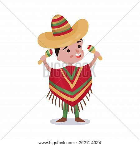Little boy in Mexico country national clothes, kid wearing poncho and sombrero holding maracas colorful vector Illustration on a white background