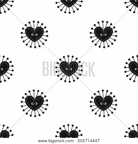 Pad with sewing pins. Sewing and equipment single icon in black style vector symbol stock illustration .
