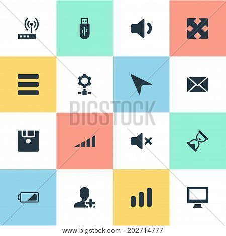 Elements Quiet Sound, Monitor, Charging And Other Synonyms Task, Envelope And Sandglass.  Vector Illustration Set Of Simple Computer Icons.