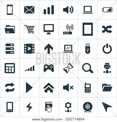 Elements Folder, Joystick, Reload And Other Synonyms Wave, Joystick And Dossier.  Vector Illustration Set Of Simple Computer Icons.