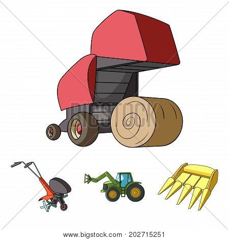 Motoblock and other agricultural devices. Agricultural machinery set collection icons in cartoon style vector symbol stock illustration .
