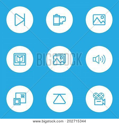 Music Outline Icons Set. Collection Of Megaphone, Video, Picture And Other Elements