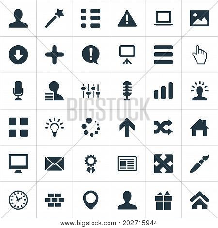 Elements Task, Option, Idea And Other Synonyms Loading, Menu And Laptop.  Vector Illustration Set Of Simple Interface Icons.