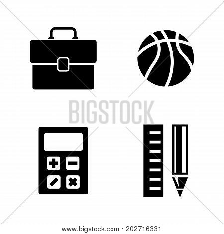 School Subjects. Simple Related Vector Icons Set for Video, Mobile Apps, Web Sites, Print Projects and Your Design. Black Flat Illustration on White Background.