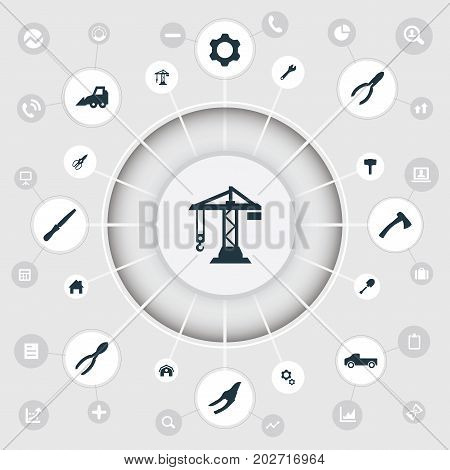 Elements Hangar, Nippers, Fretsaw And Other Synonyms Hoisting, Axe And Detail.  Vector Illustration Set Of Simple Work Icons.